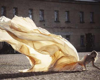 Long Wedding Dress with Very Long  Puddle Train, Romantic wedding gown, Classic bridal dress, Custom dress, Rustic gown