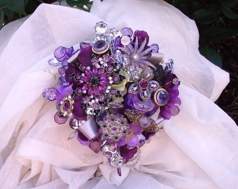 Custom Order purple brooch bouquet, plum cascade wedding bouquet, vintage purple jewelry bouquet, cascade wedding bouquet, florist made,