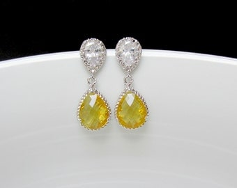 yellow bridal earrings , silver yellow earrings , yellow silver post earrings , yellow drop earrings , cz yellow earrings , bridesmaids gift