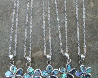 Sterling Silver Necklace, Plumeria Pendant, Abalone Plumeria Pendant, Abalone Necklace, OOAK