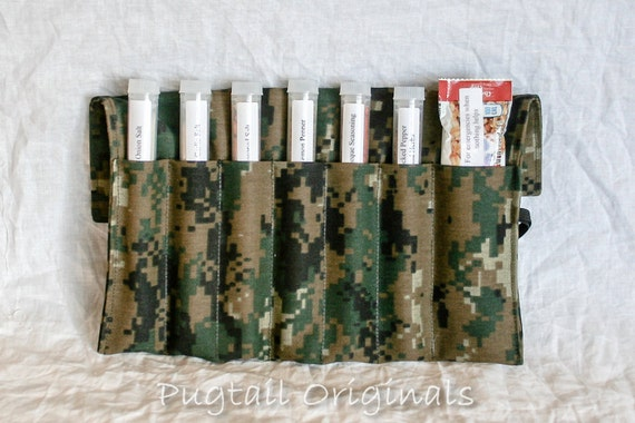 USMC Gift - Personalized Meal Improvement Kit - MARPAT Woodland - Deployed Military - Marine.  Spices in a unique roll up kit