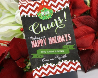 Personalized Wine Gift Tag for Holidays and Hostess Gift (Set of Ten) Chevron Design