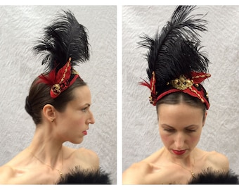Black Red and Gold Headpiece Renaissance Hat Rococo Baroque Tudor Ostrich Feather Floral Fascinator Costume Felt Hat (CUSTOM: Made to order)