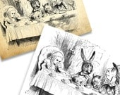 Extra Large Mad Hatters Tea Party. Alice in Wonderland illustration. High Quality Image. Instant Digital Download.