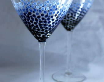 Blue Ombre Dot Martini Glasses - Hand Painted | Gift, Wedding, Anniversary, Birthday, Bachelorette, Light, Dark, Ocean, Water, Barware, Bar