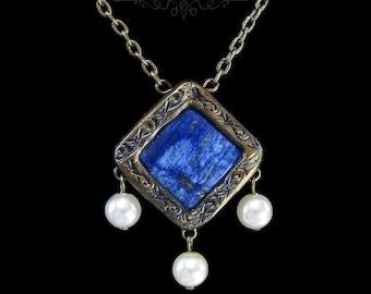 Blue Lapis Lazuli and Pearls Unique Romantic Medieval Renaissance Antique Style Necklace