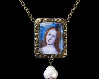 Unique Romantic Medieval Renaissance Goddess Lady Pearls Antique Style Necklace Earrings