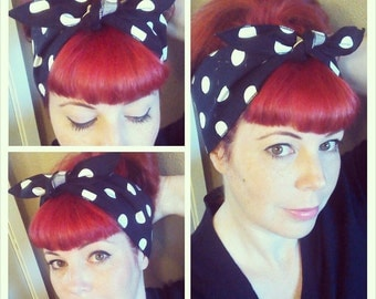 SALE Black and White Polka Dot one sided Wide Headwrap Headscarf Bandana Hair Bow Tie Vintage Style - Rockabilly - Pin Up