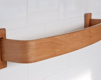 "18"" Beech Towel Bar - Bentwood Towel Bar - Solid Wood Arc Towel Bar - Modern Beech Towel Rack"
