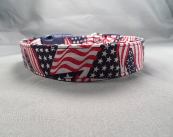 Red White and Blue Fun Flags Dog Collar