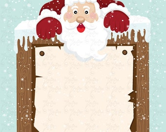 """Christmas Clipart """"CHRISTMAS SANTA"""" clip art, Christmas,Santa,Sign, Snow perfect for cards,invitation,scrapbooking and all paper craft Cm005"""