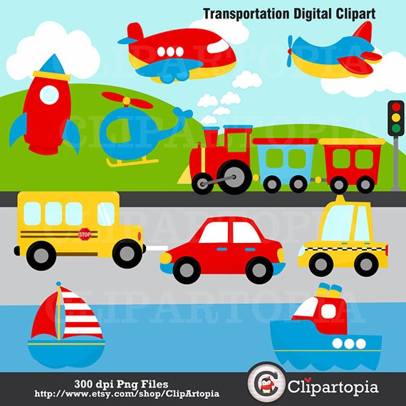 Excellent Transportation Digital Clipart /Transportation Clip Art TT13