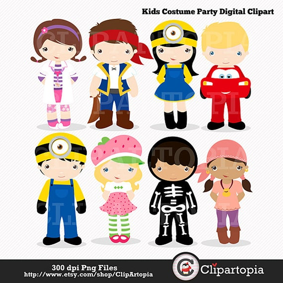 Kids Costume Party digital clipart / Cute Halloween by ...
