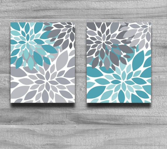 Bathroom Art Grey: SALE Turquoise Gray Flower Burst Print Set By