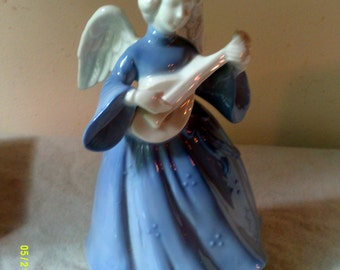 """Vintage 1960s Porcelain Musical Revolving Angel """"Silent Night"""" -Berman and Anderson- Made in Japan"""