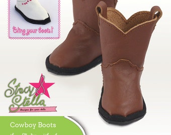 Pixie Faire Stacy and Stella Leather Cowboy Boots Doll Clothes Pattern for 18 inch American Girl Dolls - PDF