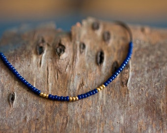 Stacking friendship bracelet - 24K gold plated beads and navy blue beads - stackable