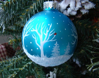 Hand Painted Turquoise Glass Christmas Ornament