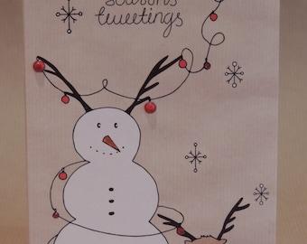 Owl and Snowman Christmas Card