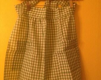 Retro Green/White Checkered Apron