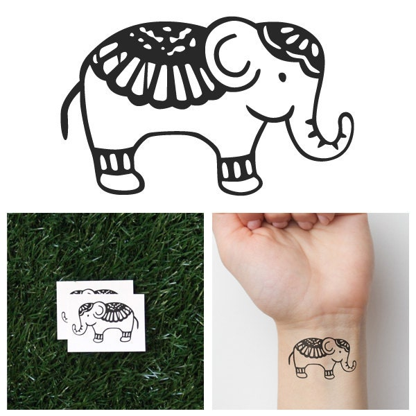 Cute elephant temporary tattoo set of 2 for Temporary elephant tattoo