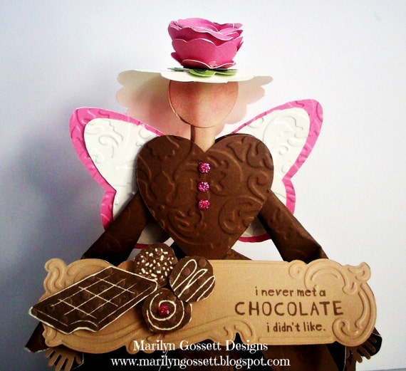 Chocolate Lover's 9 inch tall handcrafted  Angel for table decor, tree topper, party decoration