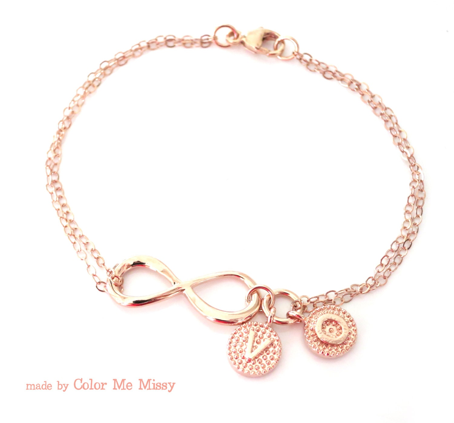 personalized rose gold infinity bracelet infinity charm. Black Bedroom Furniture Sets. Home Design Ideas