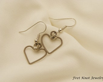 Guitar String Heart Earrings - Handmade - Dangle Heart Earrings