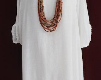 Plus Size 2X White 2 Layers Cotton Top Women Tunic Blouse Boat Neckline Dolman Sleeve