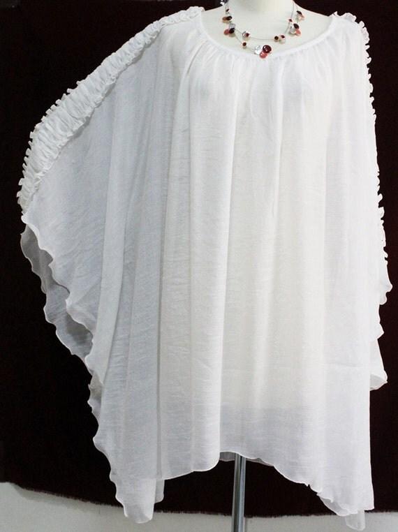 White Sheer Plus Size Blouse 84