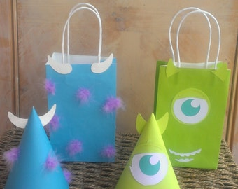 8 Monsters Inc Birthday Party Bag and Hats