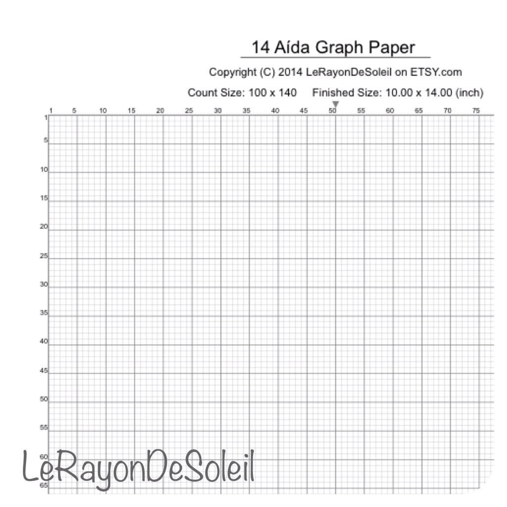 Aida 14 Cross Stitch Graph Paper Grid Template. By