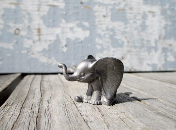 Small Pewter Elephant Figurine Vintage Collectible Animal