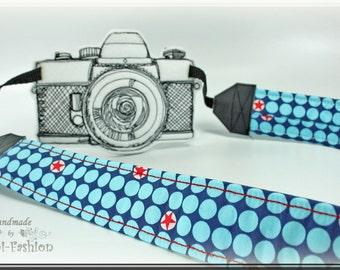 Camera strap, DSLR, petrol blue, dots, camerastrap