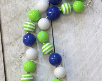 Bubblegum chunky necklace for girls Lime blue and white necklace Girl Seattle Seahawks necklace Green royal blue birthday back to school