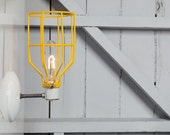Industrial Wall Light - Yellow Wire Cage Wall Sconce Light