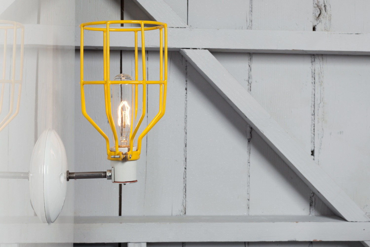 Metal Cage Wall Lights : Industrial Wall Light Yellow Wire Cage Wall Sconce Light
