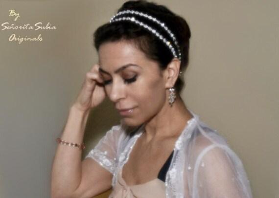 Bridal Double Headband Rhinestone Silver Starburst GRECIAN