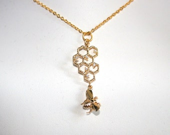 Sparkling Bee hive necklace with a honey bee dangle