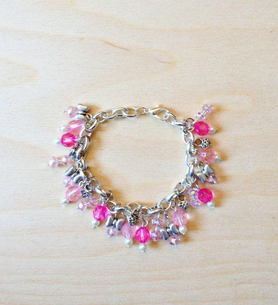 Pink Charm Bracelet - Great Gift for girls