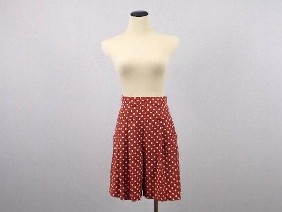 Red Polka Dot High Waisted Shorts - Size 7 Shorts - Vintage 1980s Nautical Polkadot Shorts by Rampage