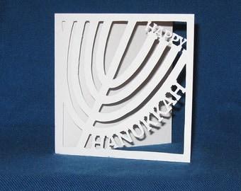 Hanukkah Menorah Card, Happy Hanukkah, Hand Cut Card