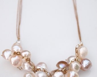 Wire Wrapped Cluster Pearl Necklace