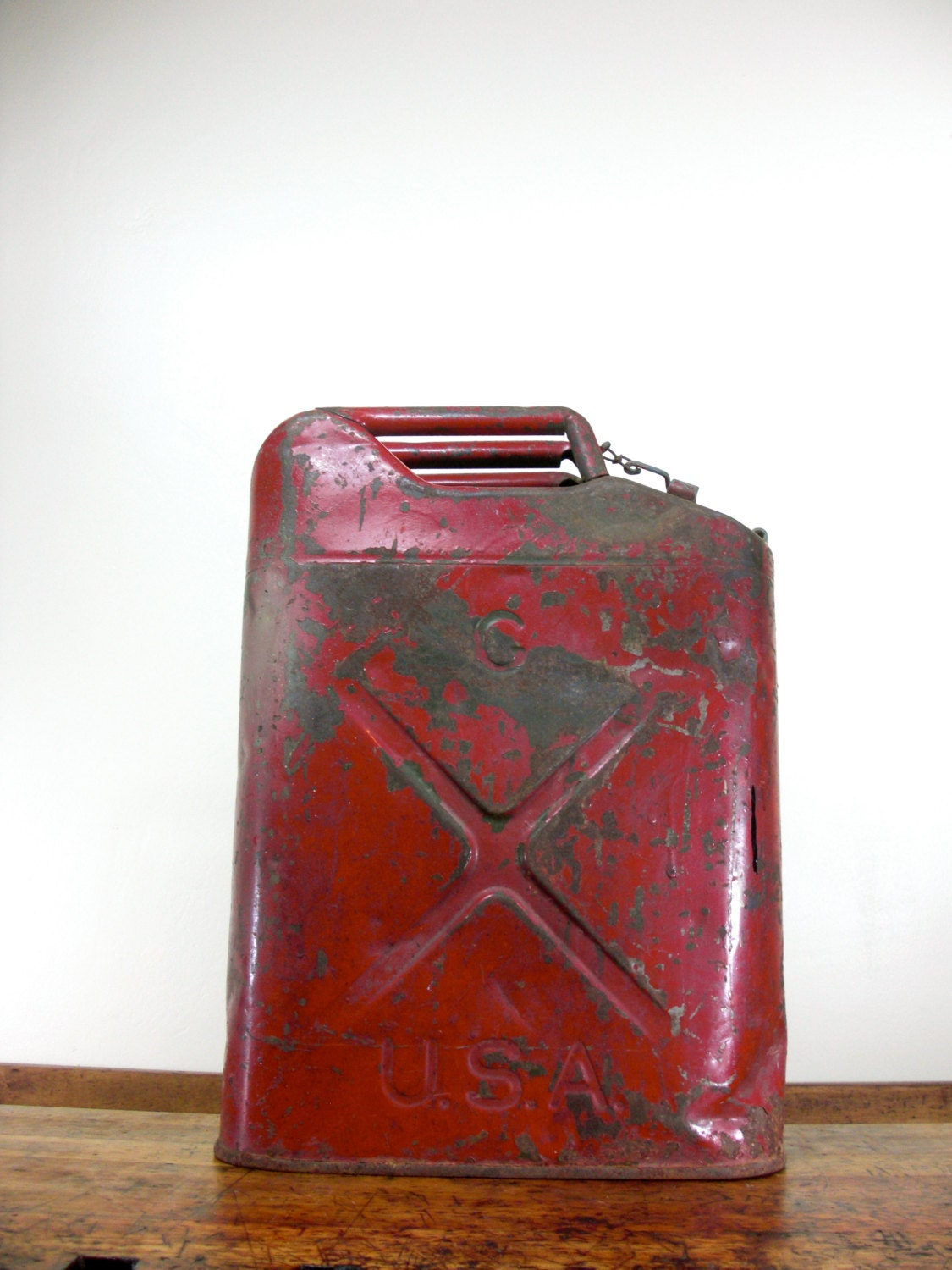 Vintage Military Gas Can Rare Qmc Metal Gas Can Red