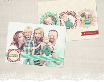 Christmas Card Template for Photographers - 5 x 7 Landscape Flat Card - Holiday Cheer
