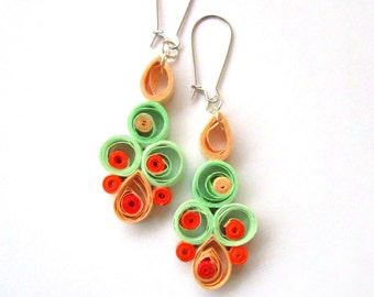Pastel Quilling Earrings, Earrings with Pastel Quilled Elements, Quilled Paper Earrings, Quilling Jewelry