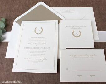 Gold Wedding Invitations, Varsity Wreath Monogram Wedding Invitation
