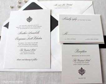 Formal Wedding Invitation, Traditional Wedding Invitation, Classic Wedding Invitations, Damask Wedding Invitation