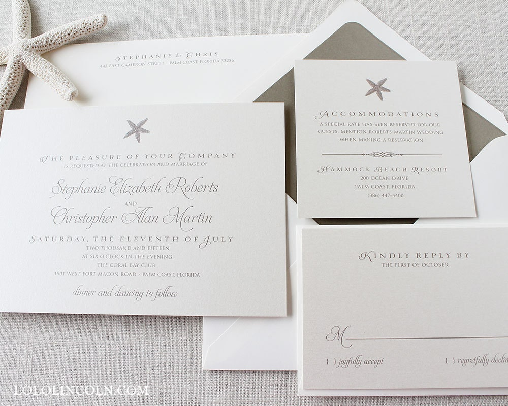 Destination Wedding Invitation Wording Samples: Starfish Wedding Invitations Beach Wedding Invitations