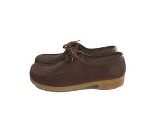 Vintage Women's Clark's Shoes Italian Moc Toe Crepe Sole 9 Narrow